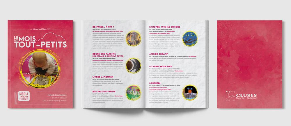 Célia RATTO, Graphiste multimédia à Annecy - Haute-Savoie - Région Rhône Alpes. Design Graphique, Illustration, Web et Vidéo : Ville de Cluses, graphisme print et communication. Événementiel, prévention et information municipale. Nouvelle charte graphique et mise en page, programme de la médiathèque.