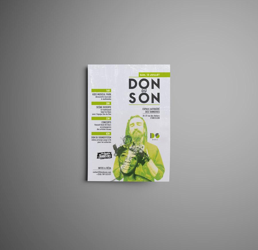 Célia RATTO, Graphiste multimédia à Annecy - Haute-Savoie - Région Rhône Alpes. Design Graphique, Illustration, Web et Vidéo : Don du Son, espace culturel à Dijon. Espace autogéré des Tanneries : Visuel facebook - événement - musique