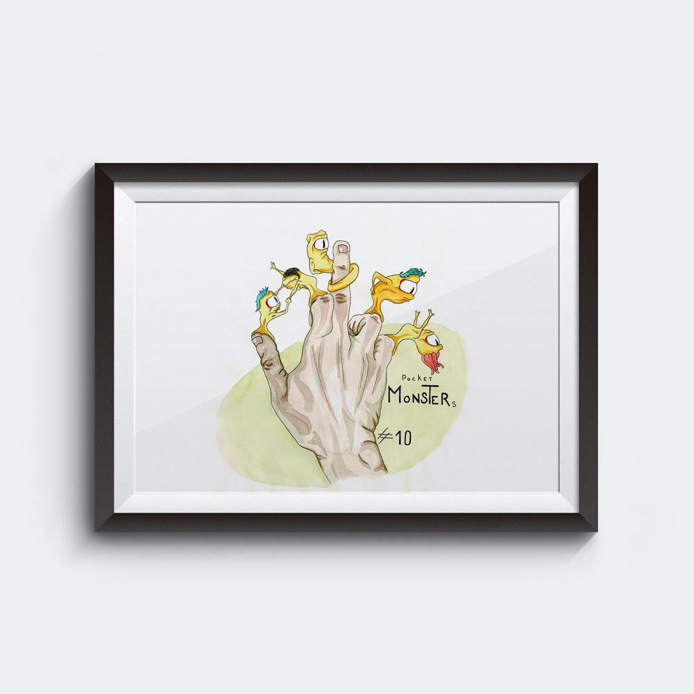 Célia RATTO, Graphiste multimédia à Annecy - Haute-Savoie - Région Rhône Alpes. Design Graphique, Illustration, Web et Vidéo : Pocket Monster, illustration. Série pour sérigraphie sur ToteBag