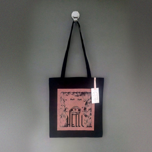 La boutique : Célia RATTO, graphiste multimédia à Annecy. Créations et Sérigraphie textile artisanale - Tote Bag Hello rose