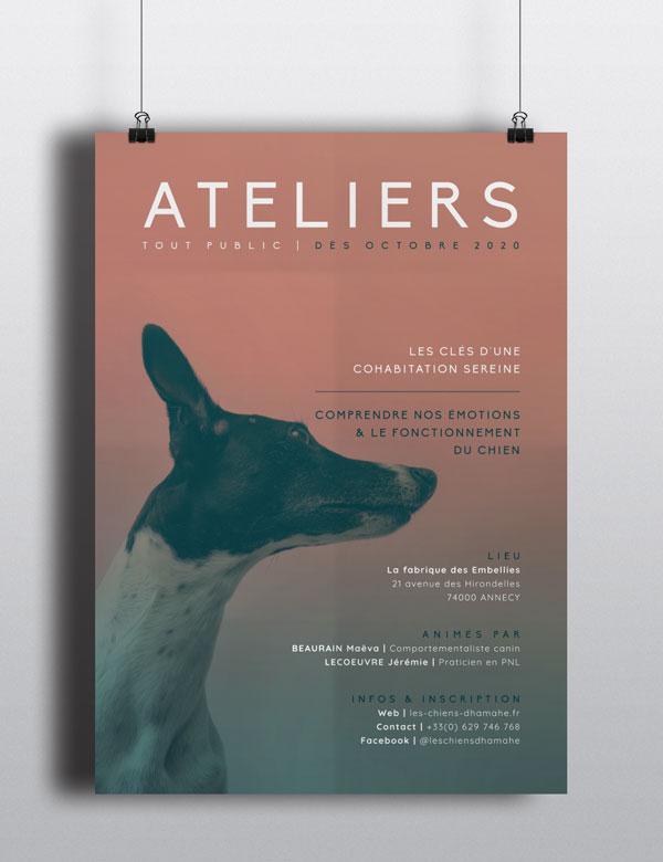 Célia RATTO | Graphiste Freelance à Annecy, Ateliers Canins par Les Chiens d'Hamahe, avec Maeva BEAURAIN et Jérémie LECOEUVRE à Annecy | Affiche A3