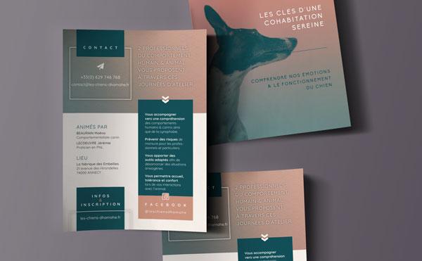 Célia RATTO | Graphiste Freelance à Annecy, Ateliers Canins par Les Chiens d'Hamahe, avec Maeva BEAURAIN et Jérémie LECOEUVRE à Annecy | Flyer A6