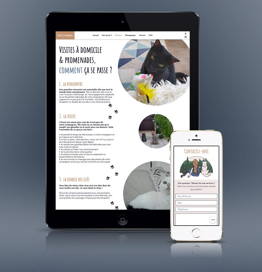 Célia RATTO | Graphiste Freelance à Annecy | Création du logo, identité visuelle et site Internet de Tifany et Compagnie, Garde d'animaux à Troyes.